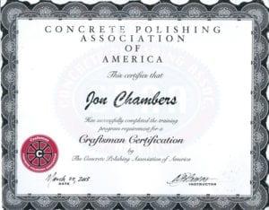 Polished Decorative Concrete Cpaa Certificate