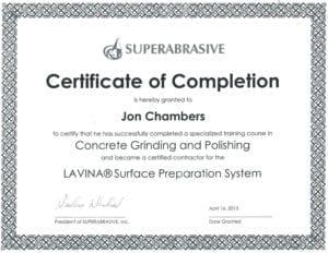 Polished Decorative Concrete Super Abrasive Certificate